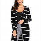 Size L Black Fashion striped cardigan long sleeve long section of women's cardigan jacket