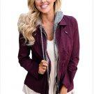 Size S Purple New hooded long sleeve waist fake two-Piece large size women's jacket