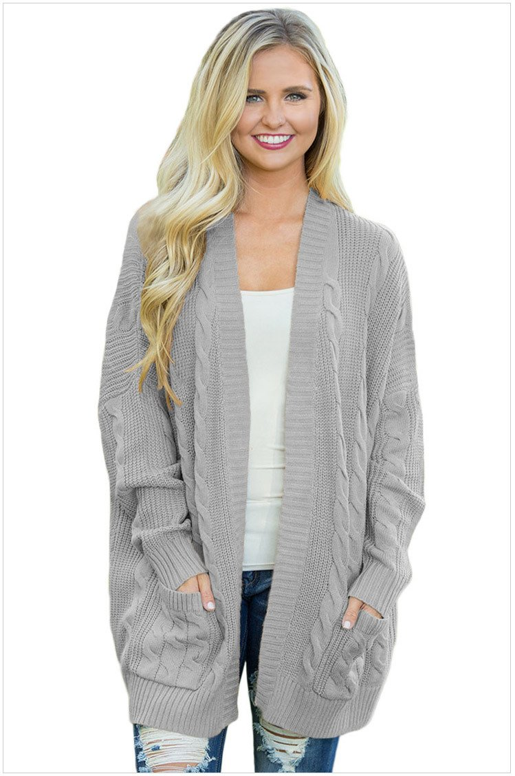 Size S Grey Classic Cardigan Long-sleeved Large Size Women's Knit Cardigan