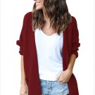 Size L Red New Large Size Knit Wool Cardigan Long Sweater Coat