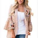 Size XXL Khaki Fashion printed lace design horn long-sleeved elegant kimono women's cardigan jacket