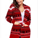 Size S Red Winter Cardigan Jacket large size sweater long sleeve loose women's Christmas sweater