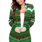 Size XL Green Winter Cardigan Jacket large size sweater long sleeve loose women's Christmas sweater
