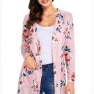 Size XXL Pink New women's cardigan long-sleeved pocket long coat
