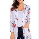 Size L White New women's cardigan long-sleeved pocket long coat