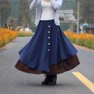Size Free Blue New women's solid color cotton skirt art irregular hem dress