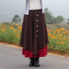 Size Free Brown New women's solid color cotton skirt art irregular hem dress