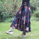 Size Blue 80cm 2017 summer cotton linen skirt dress skirts national wind flower skirt colorful patch