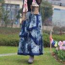 Size Blue 80cm New cotton and linen women's linen half-length skirt beach skirt