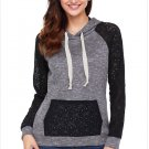 Size XL New large size women's splicing pockets hooded long-sleeved women's sweater