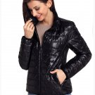 Size L Black New winter women's high-neck zip long-sleeved pockets with oversized cotton coat
