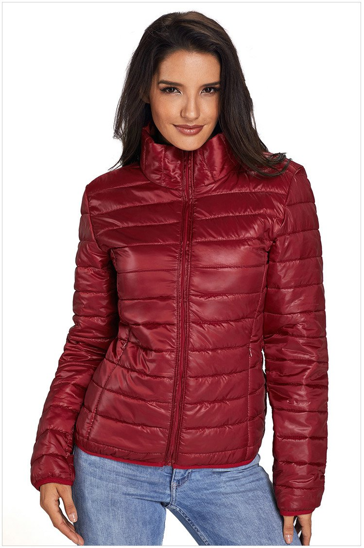 Size S Red New winter women's high-neck zip long-sleeved pockets with oversized cotton coat