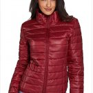 Size XXL Red New winter women's high-neck zip long-sleeved pockets with oversized cotton coat