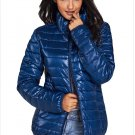 Size XL Blue New winter women's high-neck zip long-sleeved pockets with oversized cotton coat