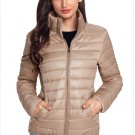 Size L Apricot New winter women's high-neck zip long-sleeved pockets with oversized cotton coat