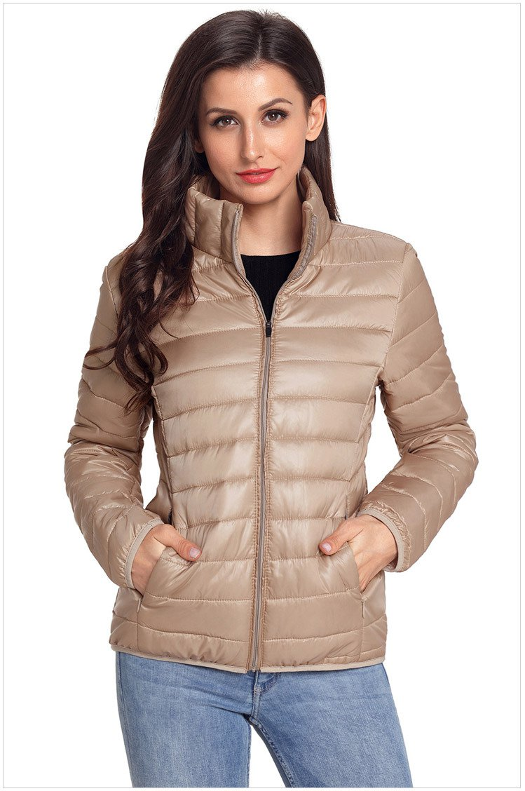 Size XL Apricot New winter women's high-neck zip long-sleeved pockets with oversized cotton coat