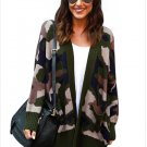 Size M Winter new large size sweater camouflage long sleeve pocket women's sweaters