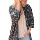 Size XXL Blue Autumn new large cardigan women's loose long-sleeved women's shirt