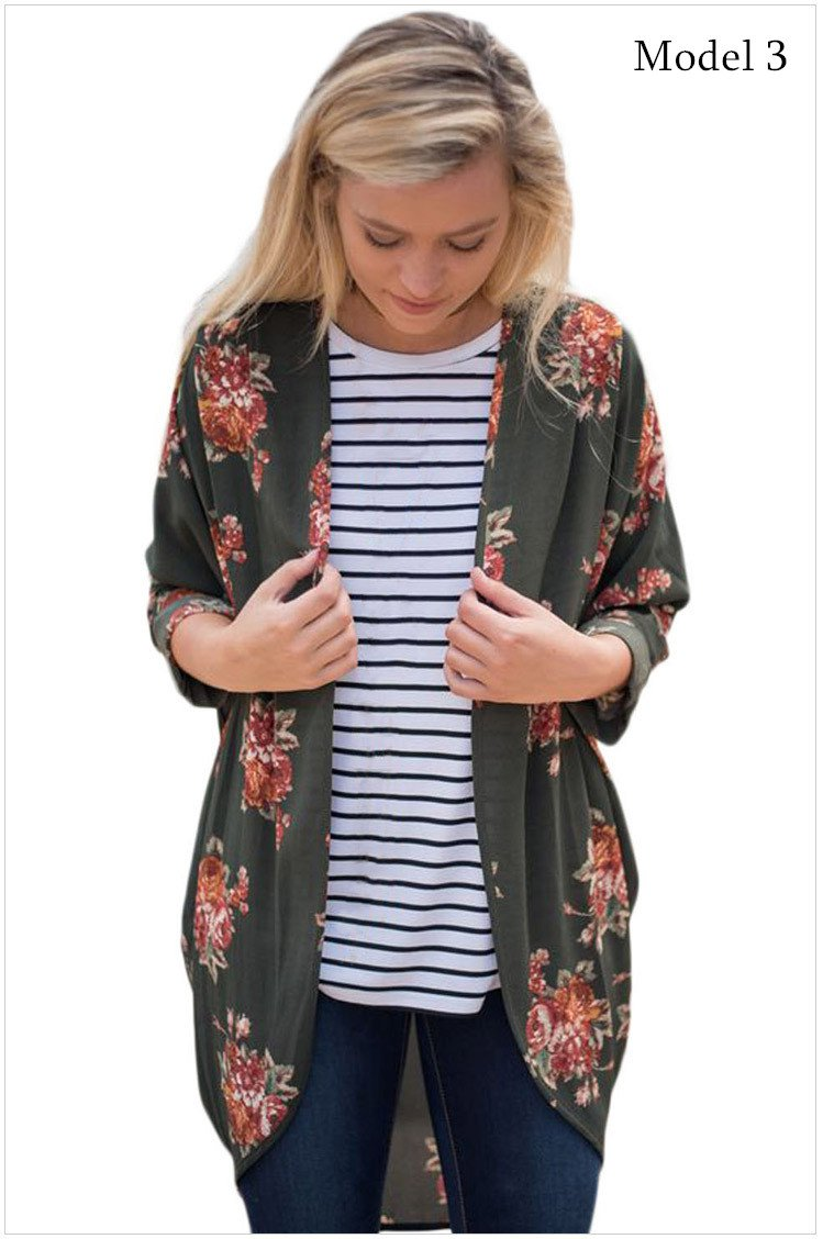 Size M Green Autumn new large cardigan women's loose long-sleeved women's shirt