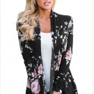 Size L Black Winter new trendy floral printing long-sleeved long cardigan jacket