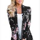 Size XXL Black Winter new trendy floral printing long-sleeved long cardigan jacket