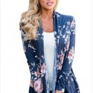 Size M Blue Winter new trendy floral printing long-sleeved long cardigan jacket