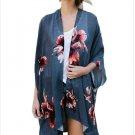 Size L Blue Large size women's coat shawl sleeve sleeve cardigan women's coat