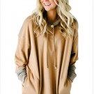 Size XL Khaki Large size women's dress splicing hooded long loose women's sweater
