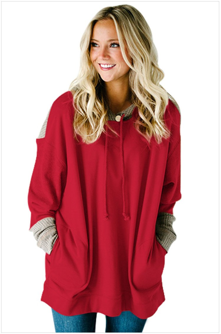 Size S Red Large size women's dress splicing hooded long sleeve long hedging loose women's sweater