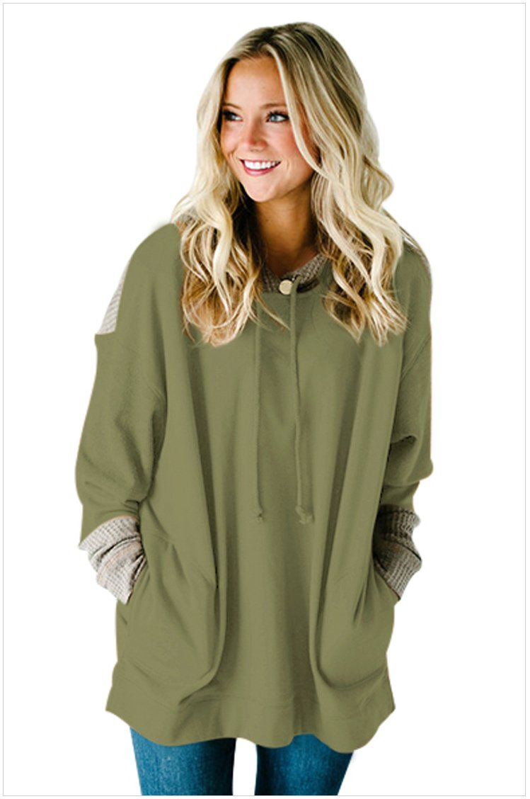 Size M Green Large size women's dress splicing hooded long sleeve long hedging loose women's sweater