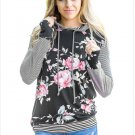 Size L Black Fashion printed hooded long-sleeved lace sweatshirt sweater