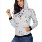 Size L Grey Winter new women's fashion flower print hooded long-sleeved women's sweater