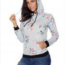 Size XXL Grey Winter new women's fashion flower print hooded long-sleeved women's sweater