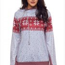 Size XXL New snowflake print hedging hooded long sleeve plus size women's sweater