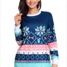 Size XXL Blue Winter new unique round neck long-sleeved self-cultivation women's sweater