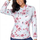 Size S Grey Fashion printed string hooded long-sleeved pocket sweater