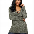 Size S Green Long-sleeved cross-V-neck long sweater