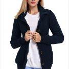 Size XXL Darkblue New women's knit sweater cardigan long sleeve coat