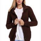 Size XS Brown New women's knit sweater cardigan long sleeve coat