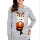 Size XXL Grey Large Size knit sweater round neck wild long-sleeved women's Christmas sweater