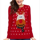 Size XL Red Large Size knit sweater round neck wild long-sleeved women's Christmas sweater