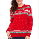 Size XXL Red Large size printed sweater round neck long sleeve Christmas sweater