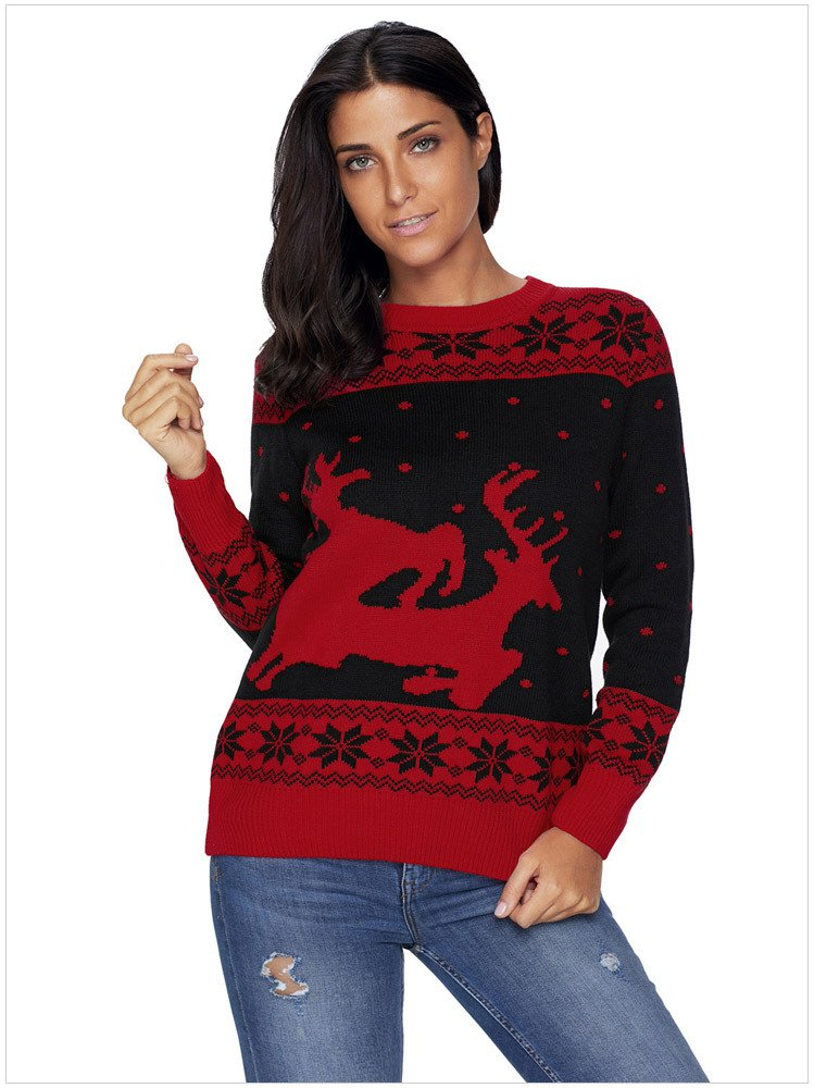 Size L Black Christmas printed large size sweater round neck long-sleeved women's sweater