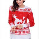 Size XXL Red Christmas printed large size sweater round neck long-sleeved women's sweater