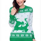 Size XXL Green Christmas printed large size sweater round neck long-sleeved women's sweater