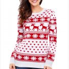 Size XL Red Large size sweater round neck womens long-sleeved Christmas sweater