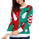 Size M Knit sweater snowman round neck long-sleeved women's Christmas sweater