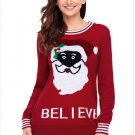 Size L Red Sweater santa round neck long sleeve plus size women's sweater