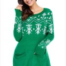 Size S Green Winter sweater sleeve round neck long sleeve printed Christmas sweater