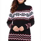Size L Black Winter new high-collar Christmas snowflake long sleeve large size women's sweater
